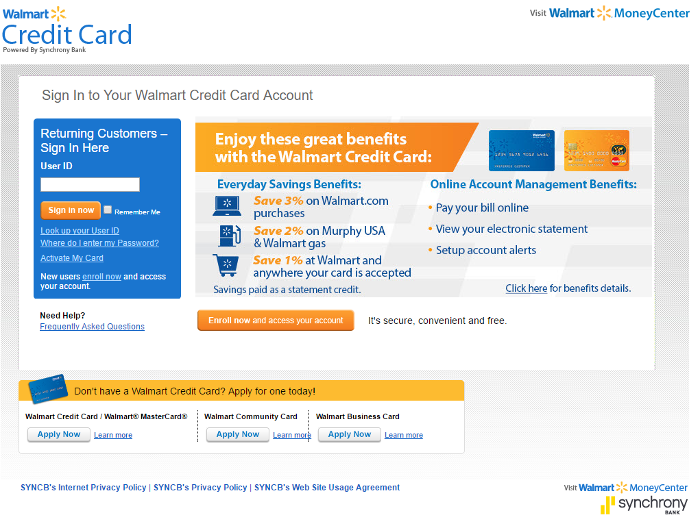 How to Login to Walmart Credit Card