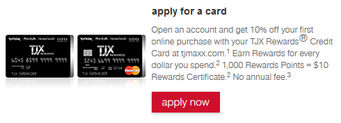 Step 1 - Go to TJX Rewards Credit Card Page