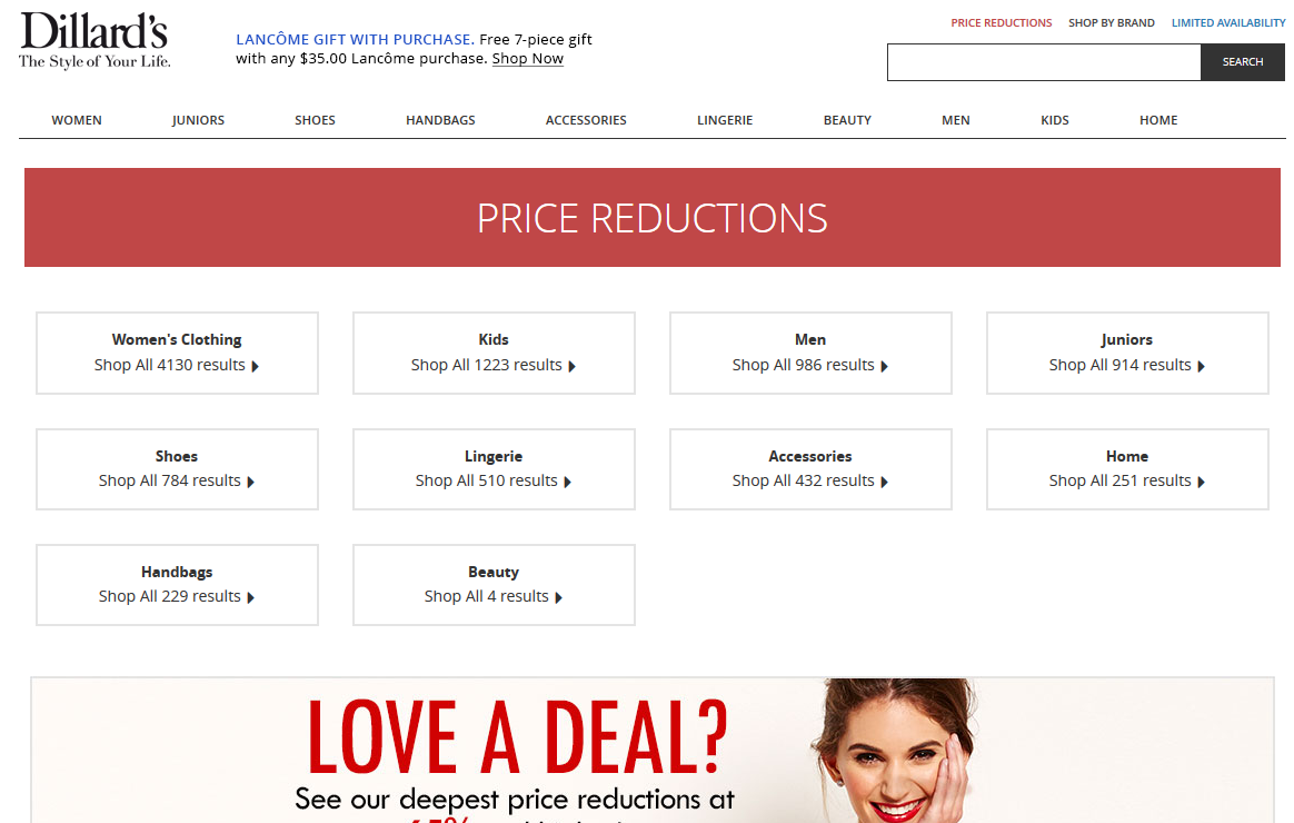 Dillard's Price Reductions