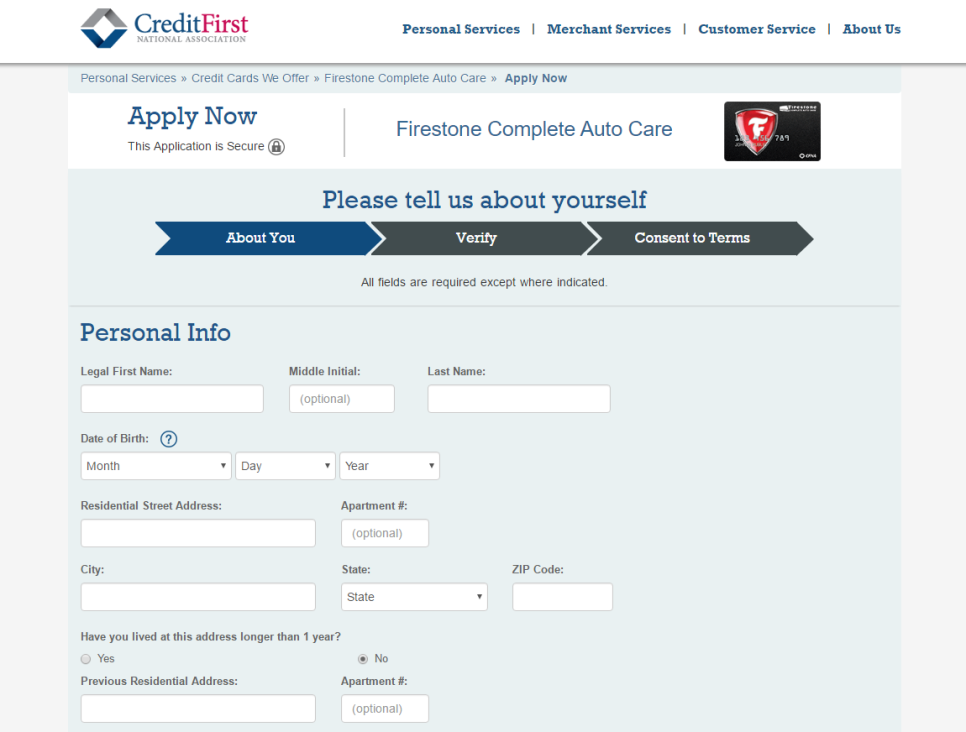 Step 1 - Go to Firestone Credit Card Application Page