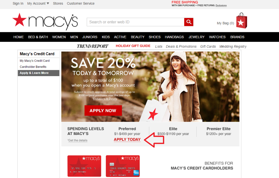 Step 1 - Go to Macy's.com