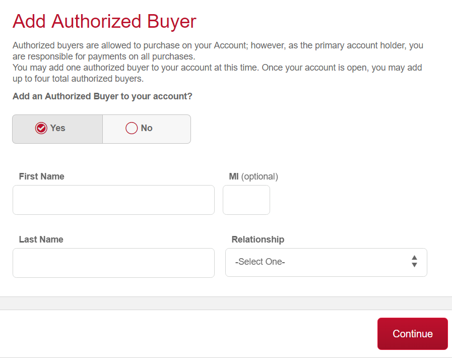 Step 4 - Add an Authorized User and Continue