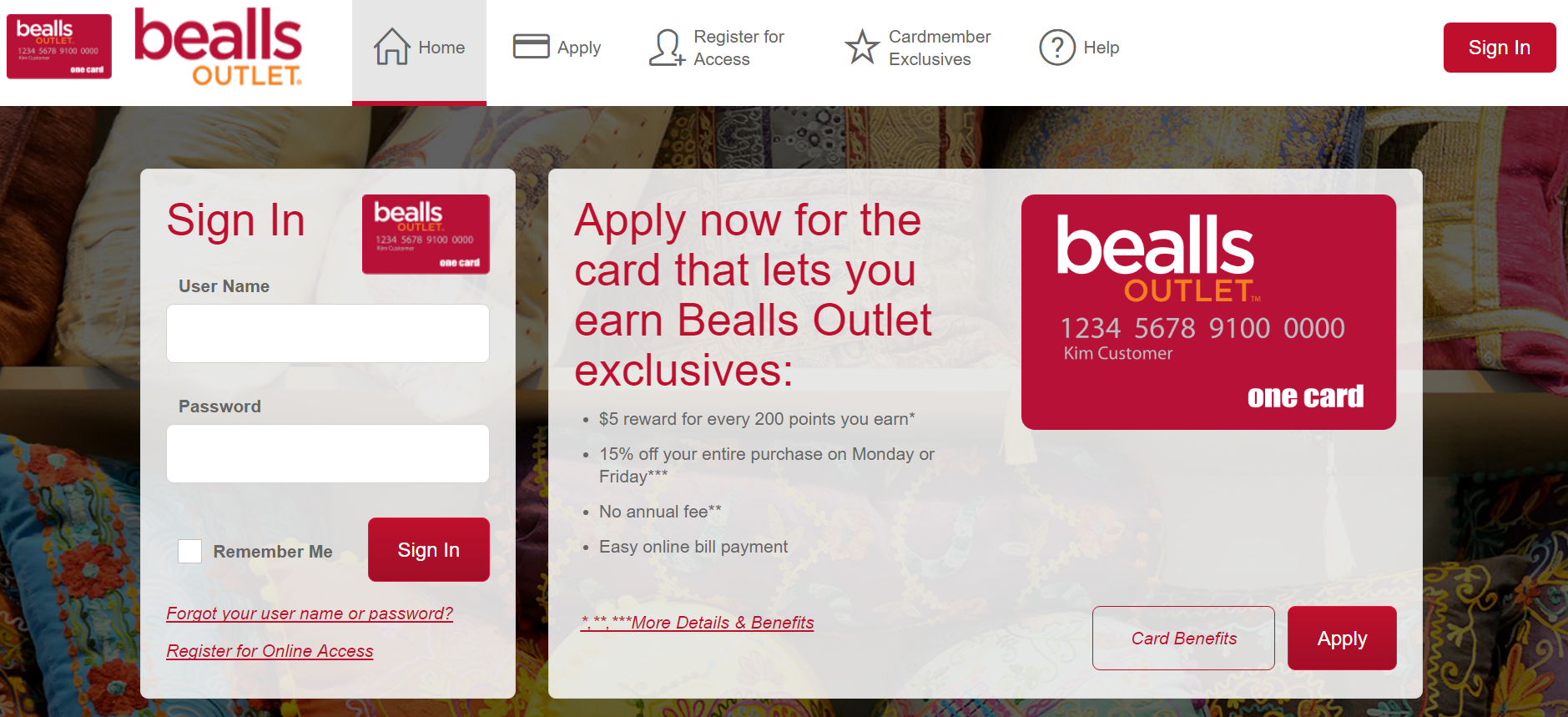 How to Login to the Bealls Outlet Credit Card
