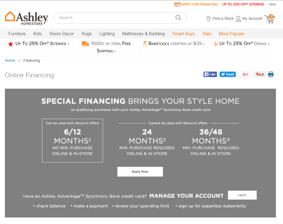 Ashley Furniture Credit Card Application Online