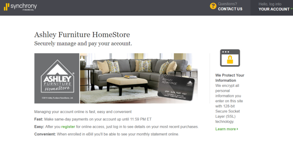 How to Login to the Ashley Furniture Credit Card Account