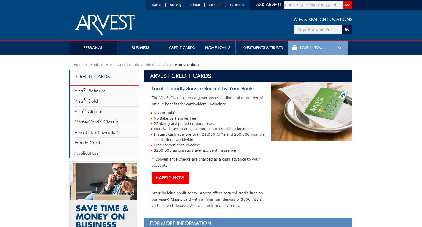 Arvest Classic Visa Credit Card Application - CreditCardMenu com