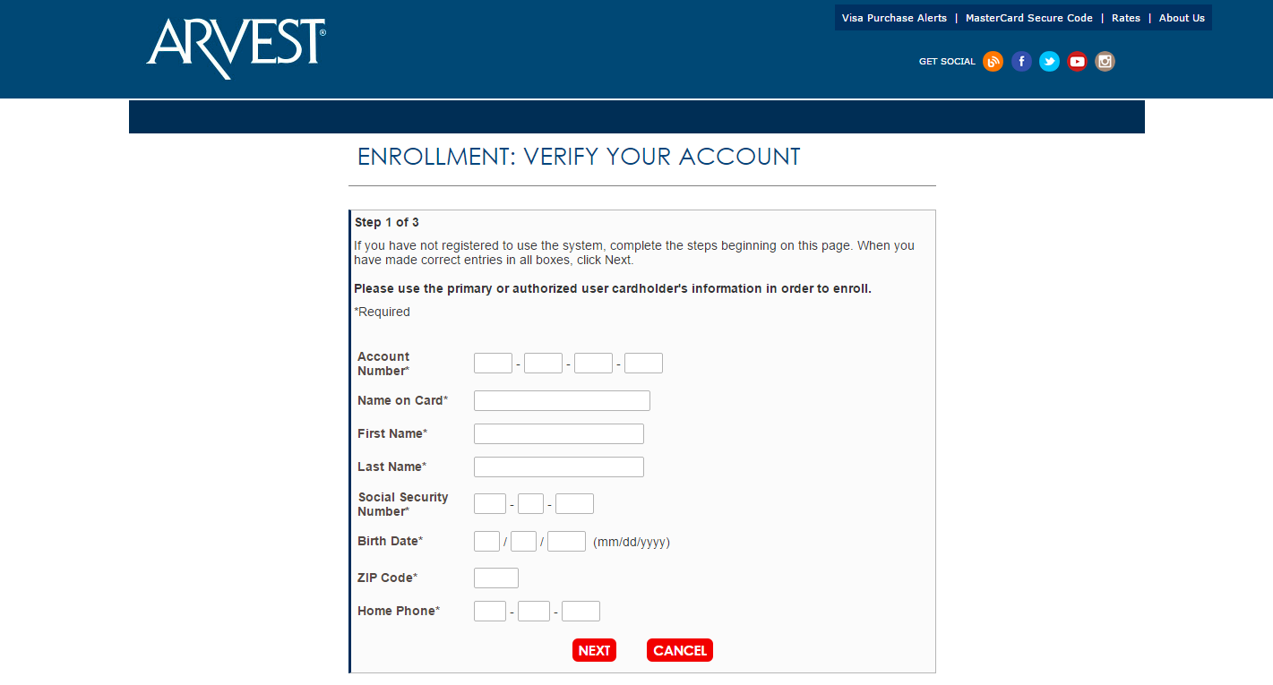 Arvest Classic Visa Credit Card Activate | Register