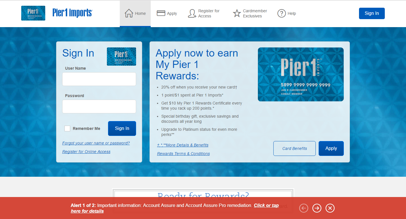 Step 1 - Go to Pier1.com