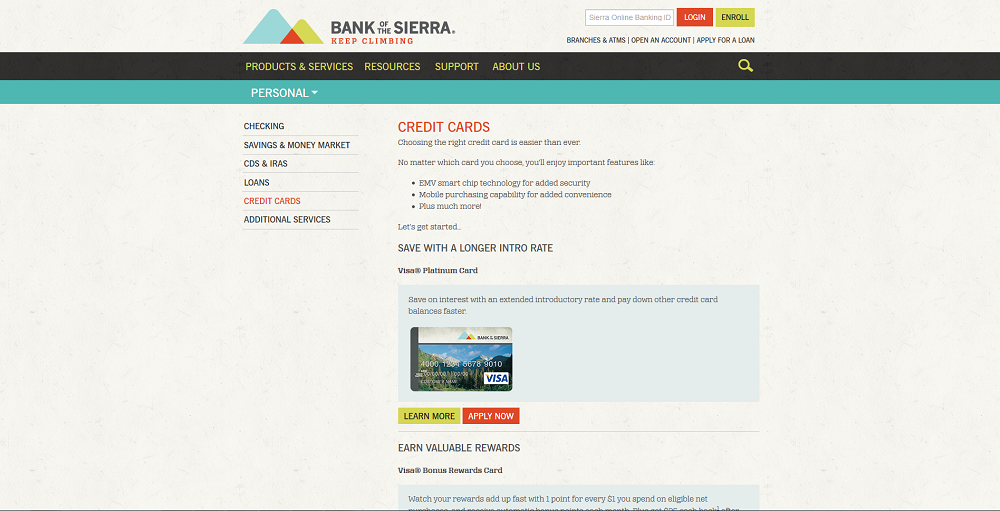 Step 1 - Go to the Bank of the Sierra Website