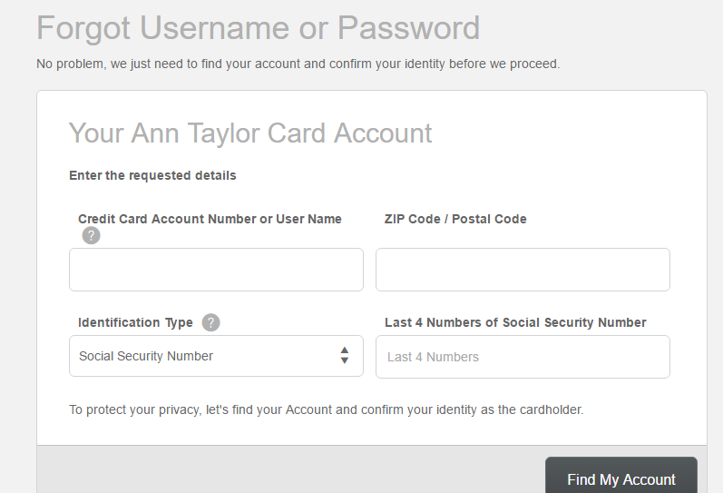 How to Login to the Ann Taylor MasterCard Account