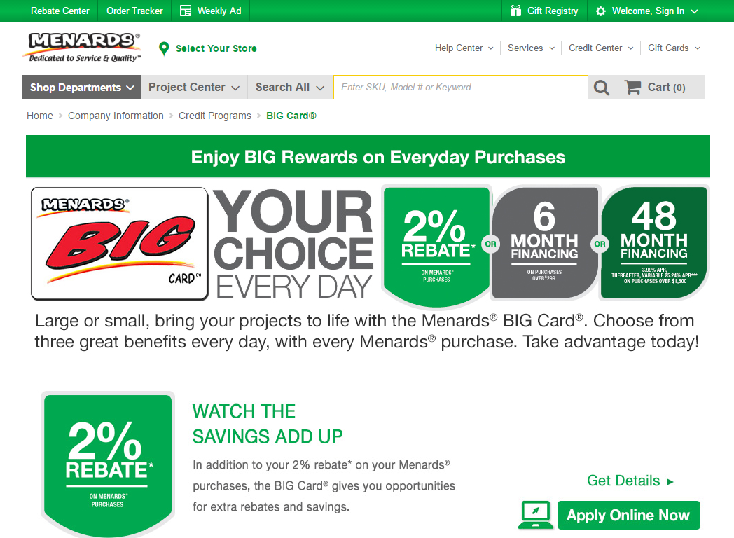 Step 1 - Go to the Menards Website
