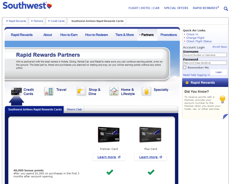Step 1 - Go to Southwest.com