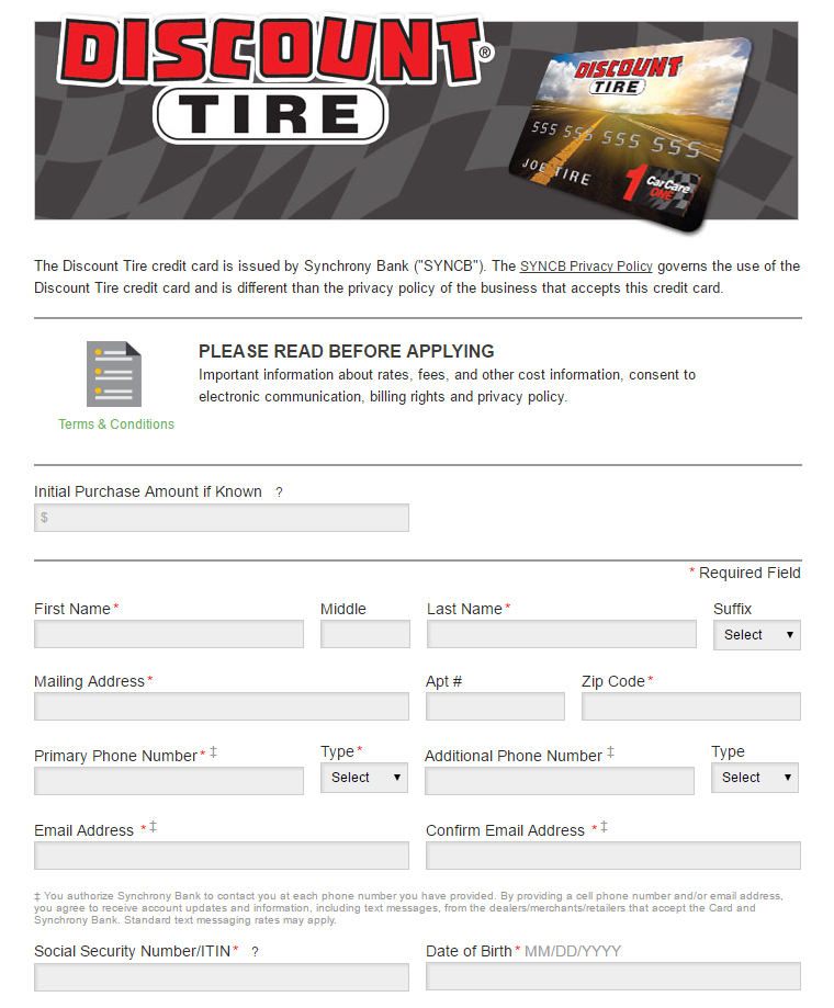 Discount Tire Credit Card Online Application