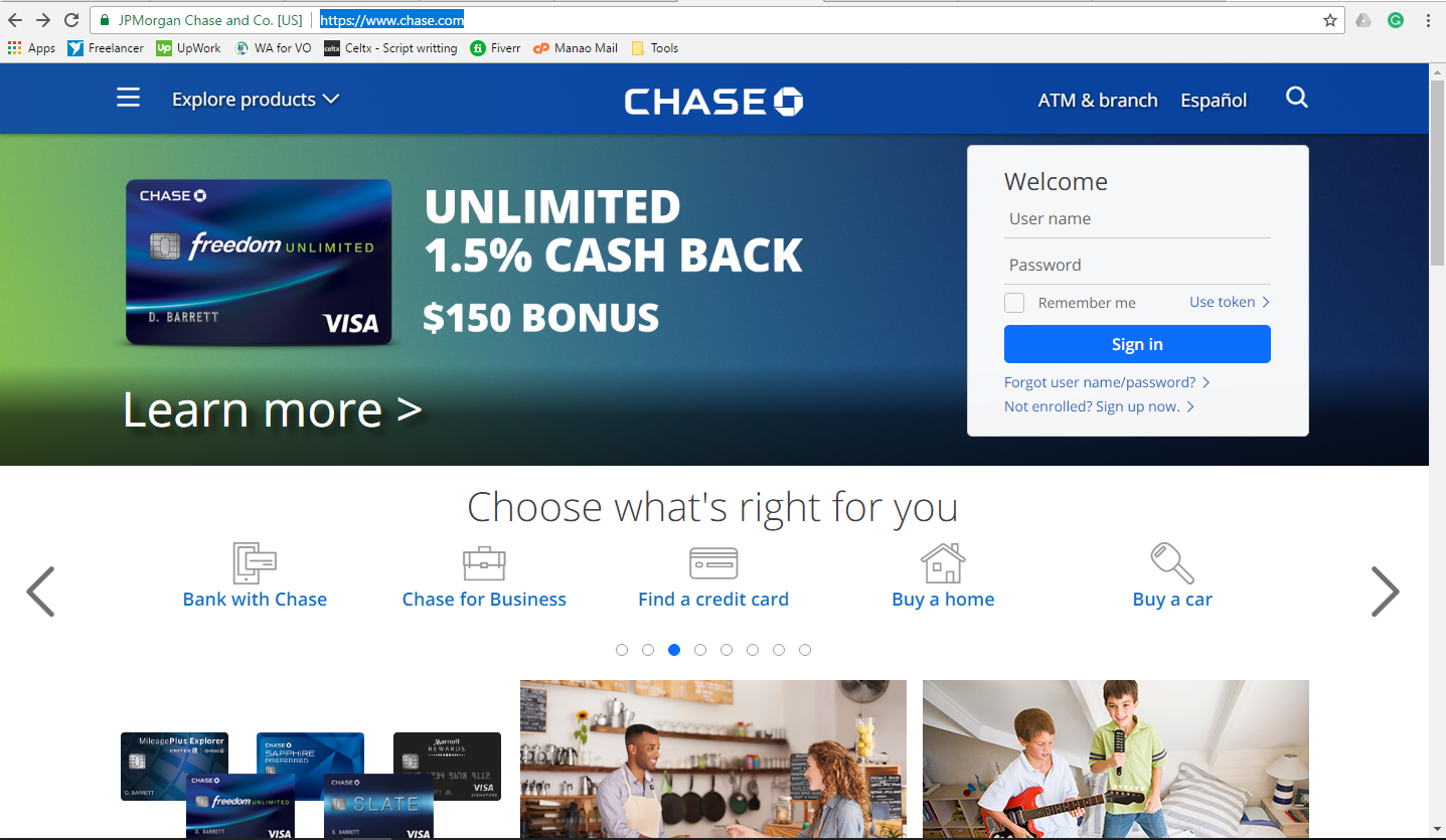 Step 1 - Go to Chase.com