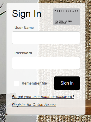 How To Login the Pottery Barn Credit Card Account