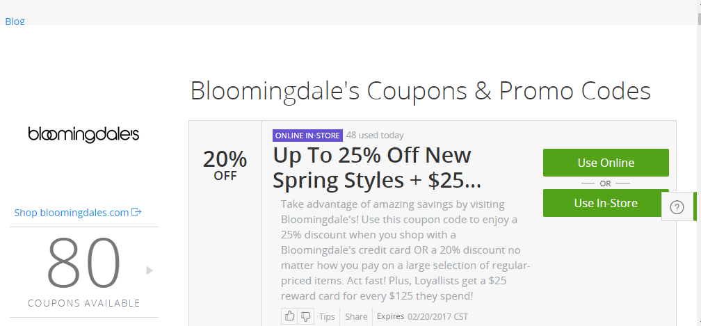 Bloomingdale's Coupon Example