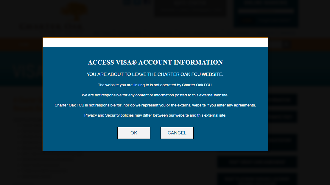 How to Login the Charter Oak Visa Platinum Credit Card Account