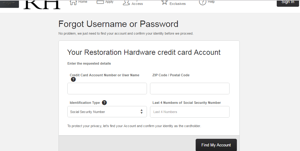 How to Restore Restoration Hardware Credit Card Account Password