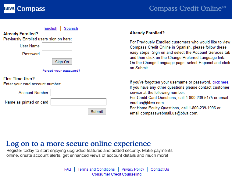 How to Register BBVA Compass Select Credit card