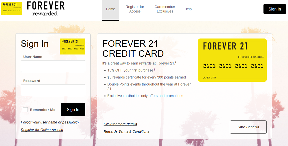 How to Login to Forever 21 Credit Card