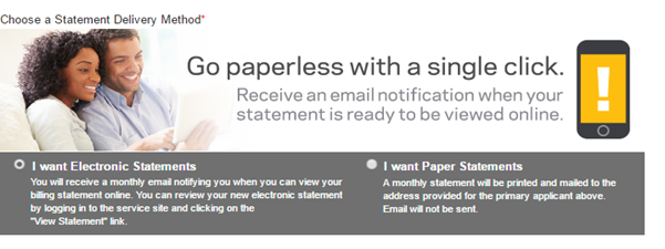 Step 2 - Choose Between Electronic or Paper Statements