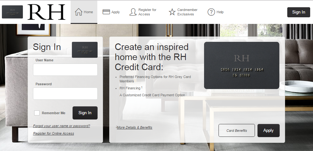 How to Login to the Restoration Hardware Credit Card Account