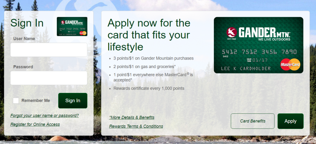 How To Log In Gander Mountain Credit Card