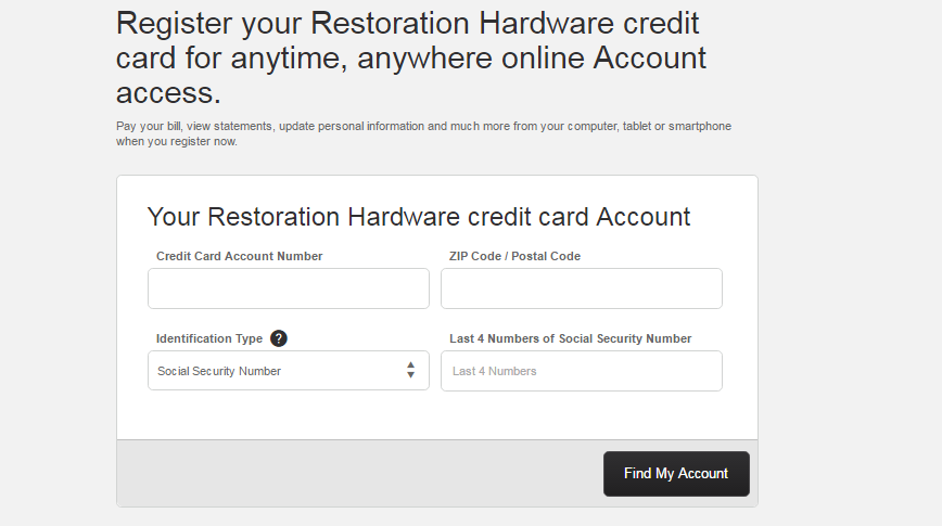 How to Register the Restoration Hardware Credit Card