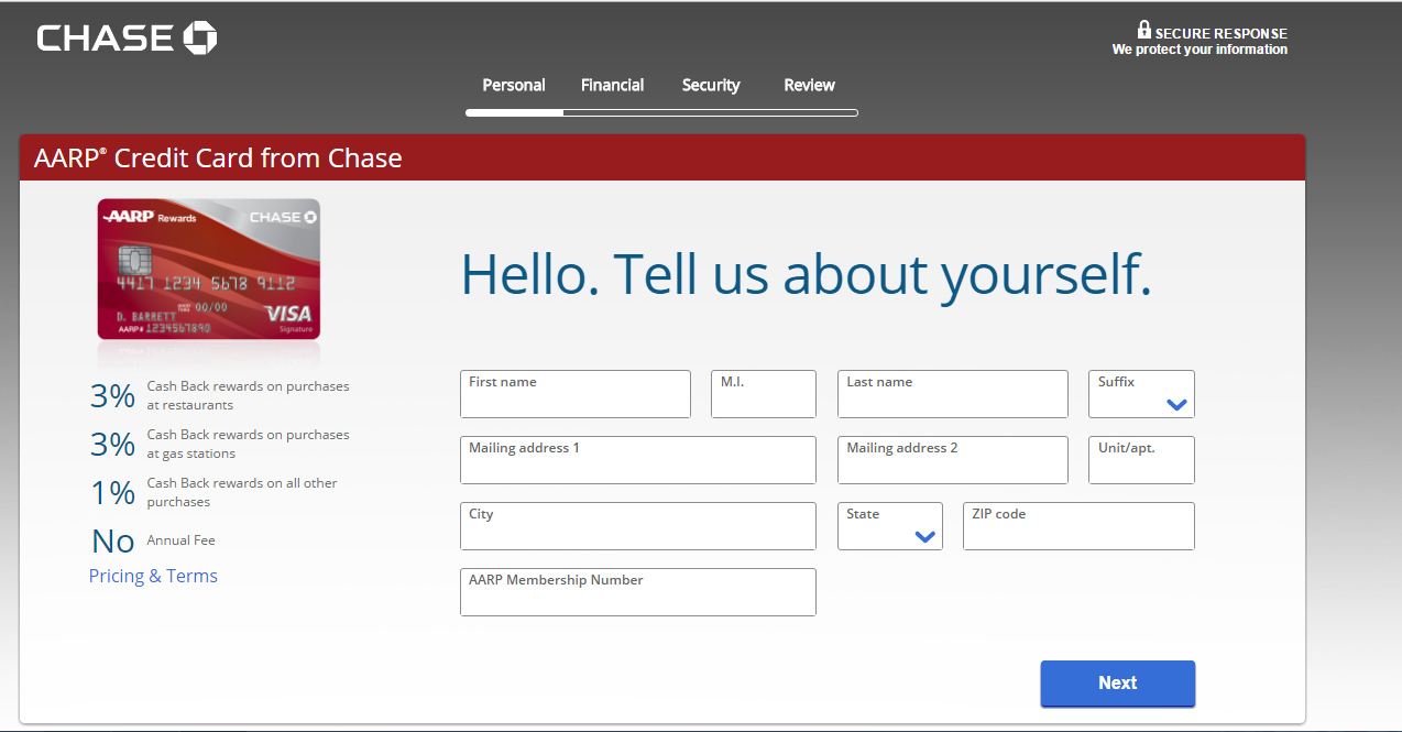 aarp credit card online application